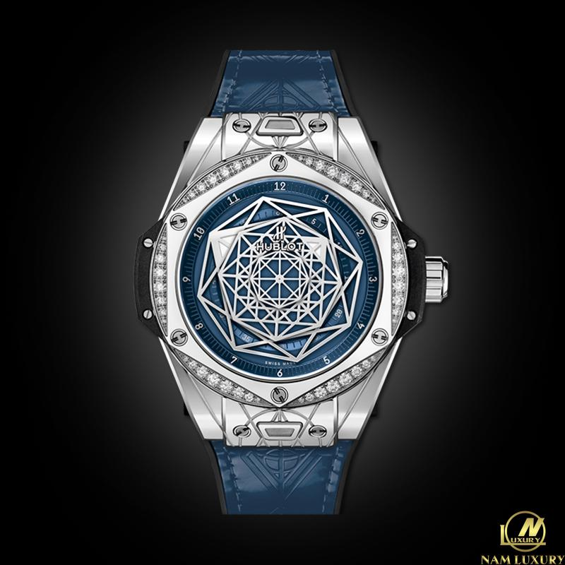 HUBLOT BIG BANG ONE CLICK SANG BLEU STEEL BLUE DIAMONDS 39MM